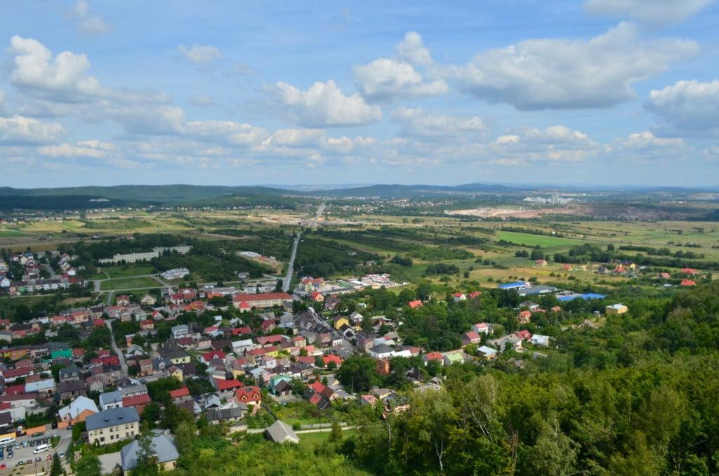 Chęciny panorama na miasto z zamku - woj. świętokrzyskie